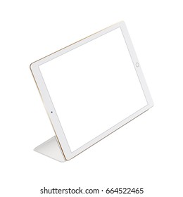 White tablet iPad Pro with stand Smart Cover isolated - perspective view. Vector illustration