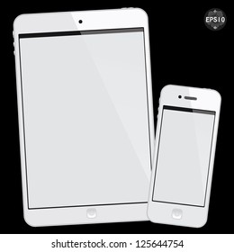 White tablet mini and smart phone on black background, vector