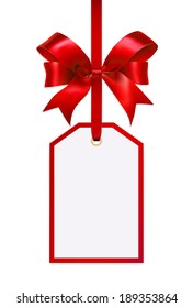 White tag isolated on white background with red ribbon