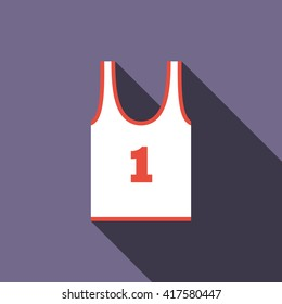 White tank top with number one icon, flat style