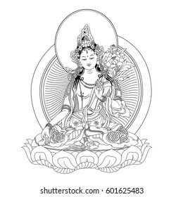 White Tara sits in a meditation posture on a lotus flower. A symbol of the Tibetan Buddhism. Buddha. Black and white design.