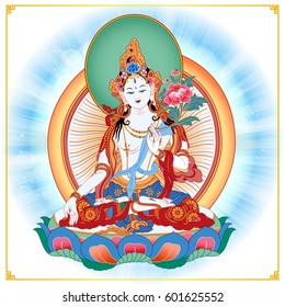 White Tara sits in a meditation posture on a lotus flower. A symbol of the Tibetan Buddhism. Buddha. Color design.