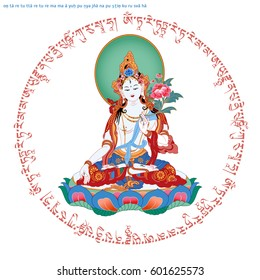 White Tara sits in a meditation posture on a lotus flower and mantra. A symbol of the Tibetan Buddhism. Buddha. Color design.