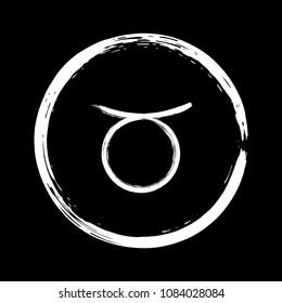 White Taurus zodiac sign, hand painted horoscope symbol vector. Astrological icon isolated. Taurus astrology zodiac symbol clip art on black background.