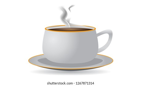White teacup and saucer with hot tea and smoke clip art.