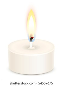 White tealight candle isolated on white