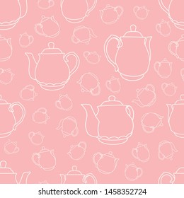 White Teapot Silhouettes Seamless Pattern On Pink Background