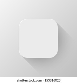 White technology app icon (button) blank template with shadow and light background for internet sites, web user interfaces (ui) and applications (apps). Vector illustration. Flat design.