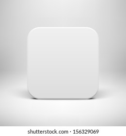 White technology app icon (button) blank template with realistic  shadow and light background for internet sites, web user interfaces (ui) and applications (apps). Vector illustration. Flat design.