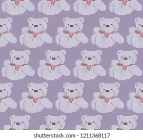 White Teddy Bear with rose bow , seamless pattern