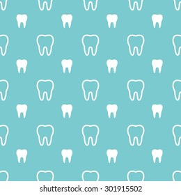 White teeth on turquoise background. Vector dental seamless pattern.