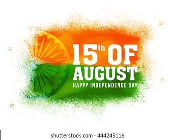 White Text 15th of August with Ashoka Wheel and Abstract Splash, Creative National Tricolor background for Happy Indian Independence Day celebration.
