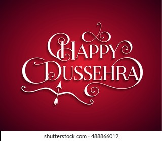 White text calligraphic inscription Happy Dussehra festival Indian with bow and arrow with a shadow on a red background. Vector illustration