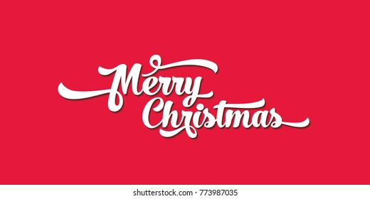 White text on a red background. Merry Christmas lettering for invitation and greeting card, prints and posters. Calligraphic design