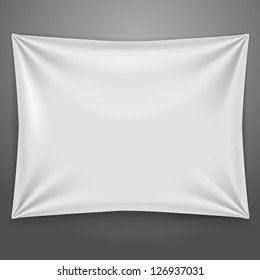 White textile banner with folds