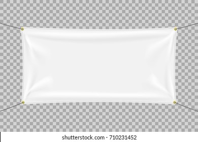 White textile banner with folds. Blank hanging fabric template. Graphic design elements for advertising, web site, flyer, poster, sale announcement, election slogan. Empty mockup. Vector illustration