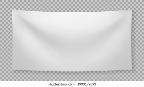 White textile banner with folds with transparent shadow