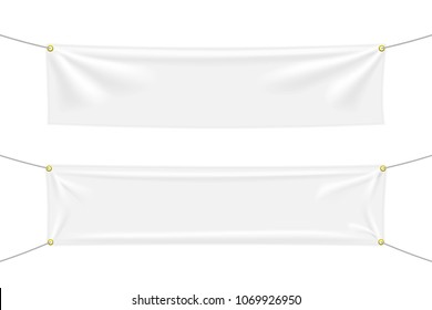 White textile banners with folds. Blank hanging fabric template set. Vector illustration
