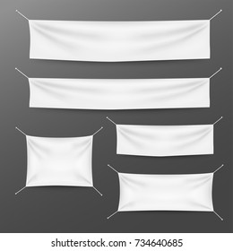 White textile banners with folds template set. Suitable for advertising, party banner, and other. Vector illustration