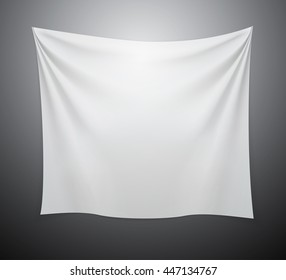 White textile cloth banner with folds.