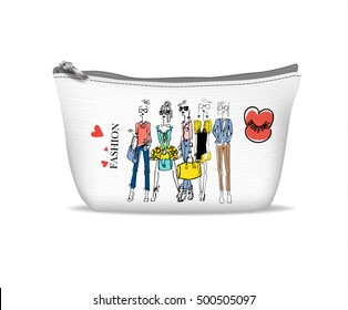 White textile cosmetic bag with print - Fashion girl in sketch-style.