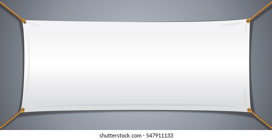 White Textile Cotton Banner. Isolated Vector Object for Your Text and Design.