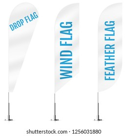 White textile drop, wind and feather banner flags. Banner flag mockups set. Set of vector advertising mockups.