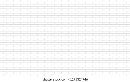 White texture, seamless brick wall. Panoramic Solid Surface. Vector illustration
