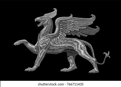 White textured embroidery griffin textile patch design. Fashion decoration ornament fabric print. Monochrome on black background legendary heraldic fairy character lion eagle vector illustration