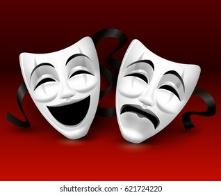 White theatrical masks on red background