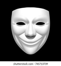White theatrical smiling mask isolated on black. Vector illustration