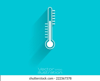 White thermometer icon on blue background - EPS10
