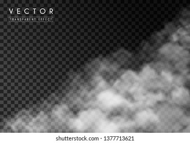 White thick smoke, smog or fog. Isolated transparent special effect