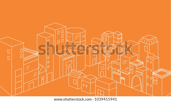 White thin line city elements. concept of downtown, office center, metropolis, residential, life. isolated on orange background. flat style trend modern logo design vector illustration