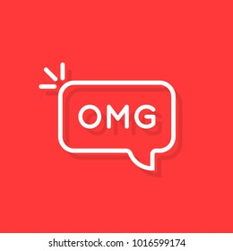 white thin line omg word in bubble. concept of oh my god text like surprise short message for web chatting or people stress emotion. flat simple trend logotype art graphic design element on red