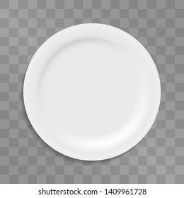 White three dimensional vector plate for dining mock ups, food event banner, poster, serving meal illustration. Cooking or degustation symbol. Kitchen porcelain,  dishware. Empty top view for branding