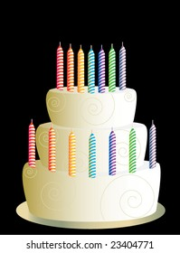 White three layer birthday cake - vector