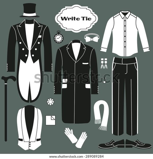 White Tie Set Clothing Men Dress Stock Vector Royalty Free 289089284