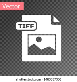 White TIFF file document. Download tiff button icon isolated on transparent background. TIFF file symbol.  Vector Illustration