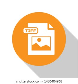 White TIFF file document. Download tiff button icon isolated on white background. TIFF file symbol. Orange circle button. Vector Illustration