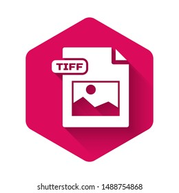 White TIFF file document. Download tiff button icon isolated with long shadow. TIFF file symbol. Pink hexagon button. Vector Illustration