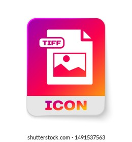White TIFF file document. Download tiff button icon isolated on white background. TIFF file symbol. Rectangle color button. Vector Illustration