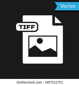 White TIFF file document. Download tiff button icon isolated on black background. TIFF file symbol.  Vector Illustration
