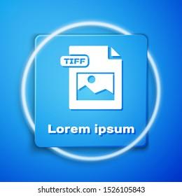White TIFF file document. Download tiff button icon isolated on blue background. TIFF file symbol. Blue square button. Vector Illustration
