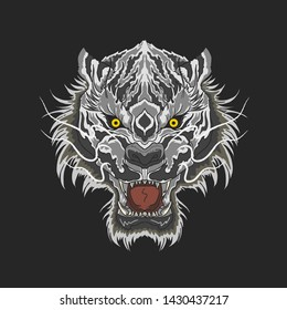 white tiger beast head mascot illustration vector