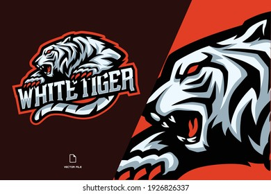 white tiger mascot esport logo illustration for a game team