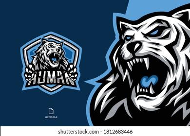white tiger mascot game logo for esport team illustration
