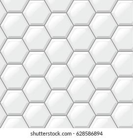 White tiles floor, hexagons, realistic seamless pattern. Vector illustration, EPS 10