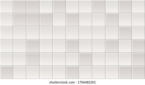 White Tiles Vector Texture. Seamless Pattern Of Beige, Gray Tiles. White Ceramic Textures Background. Seamless Tile Pattern. Grey Ceramic Brick Wall. Abstract Gray Vector Background. White Tile Wall.