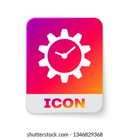 White Time Management icon isolated on white background. Clock and gear sign. Rectangle color button. Vector Illustration